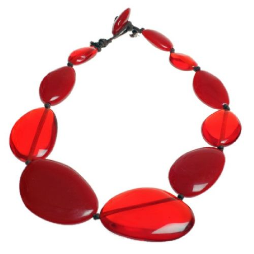 Jackie Brazil short flat riverstone necklace in Red Mix